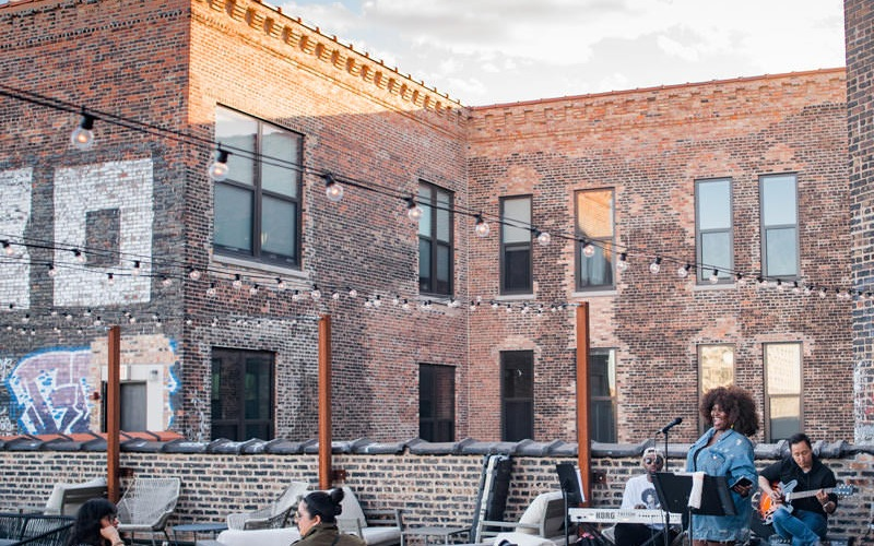 live performances on expansive rooftop deck at the Otis